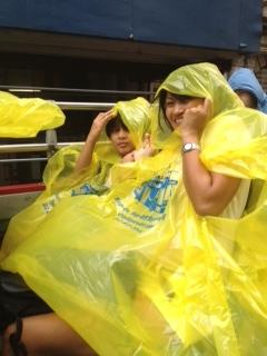 Bus tour under the pouring rain