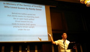 Gener reciting the poem he wrote in honor of his late grandfather at the Philippine Center in October 2013.