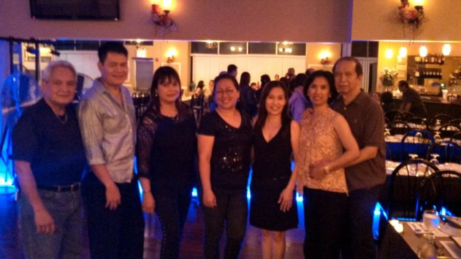 DJ Victor Alvar (2nd from left) plays ballroom and latin music on worry-free Wednesdays at Maryanns in Woodside.