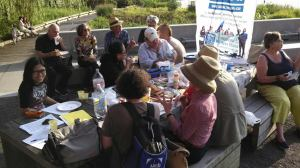 NYC writers of the NWU, taking it cool on a Friday afternoon picnic by the Hudson River.