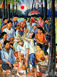 Reconnecting the past for the future. Mixed media by Celso Pepito. In time for the COCOFED National Convention in Cebu on August 3-4, 2013. The scholars pay tribute to the coconut farmers.